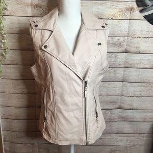 Max Studio pale pink faux leather vest size M